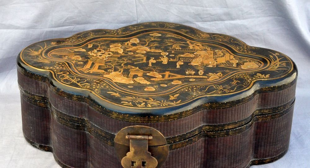 Large Black Gold Rattan Ovoid Traveling Box