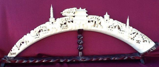 Large Ivory Scenic Carved Bridge Shape Tusk