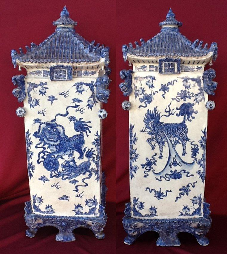 Pair of Blue & White Square Pagodas