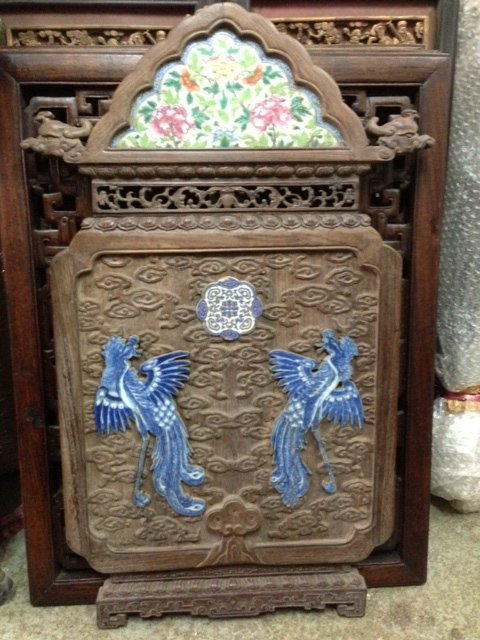 Antique 19th C Rosewood Fancy Carved Plaque