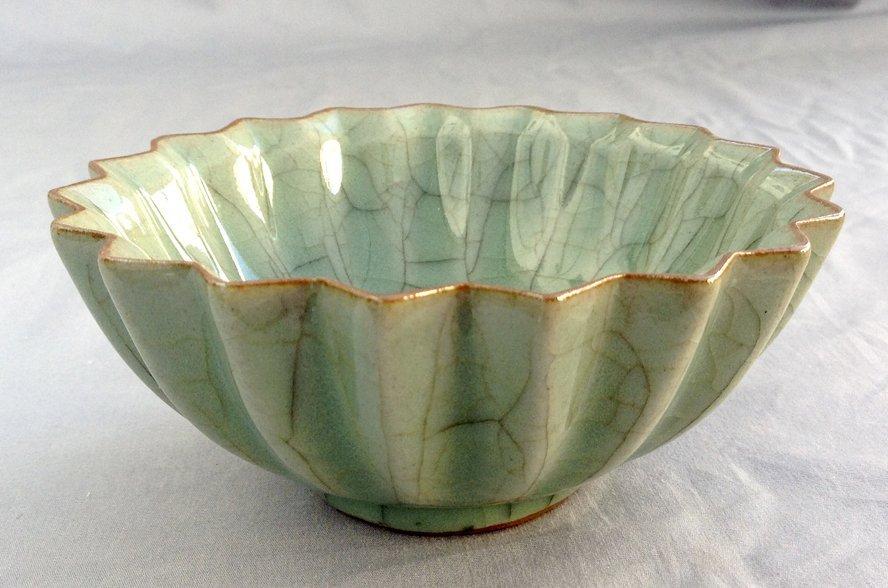 Celadon Crackle Scalloped Bowl