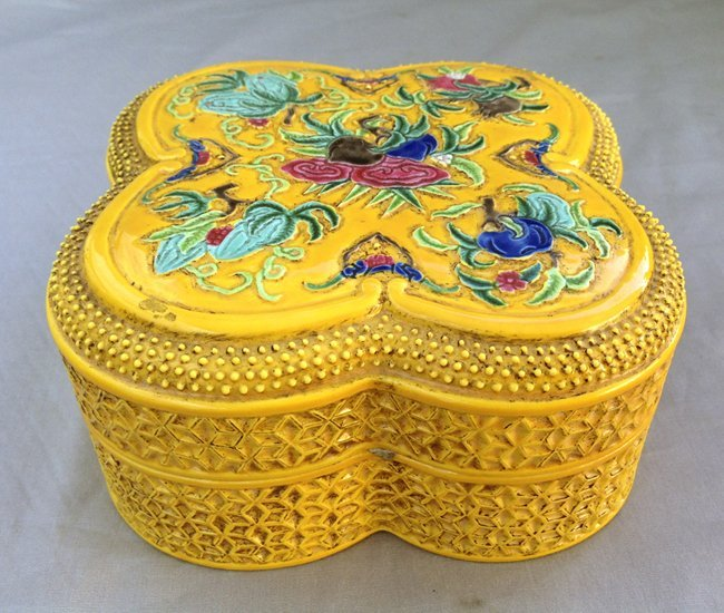 Yellow Ground Bisque Square Cover Box