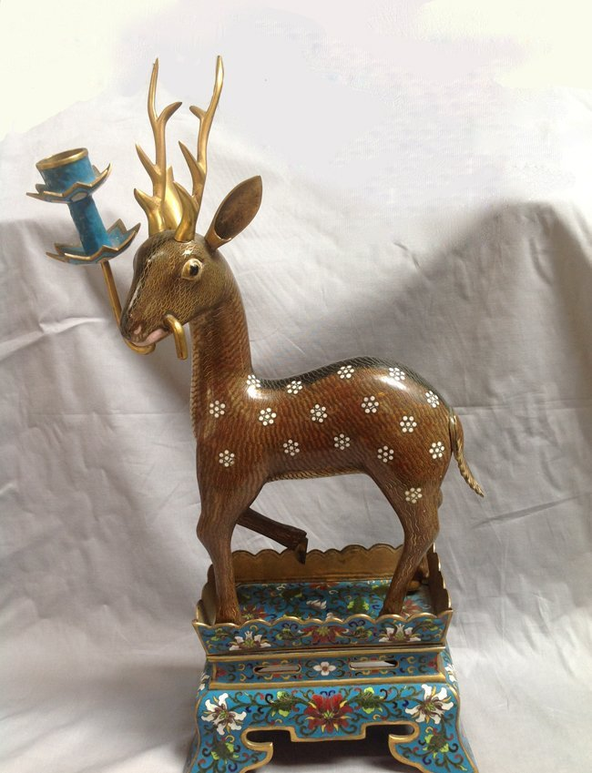 Chinese Cloisonne Deer with Candleholder