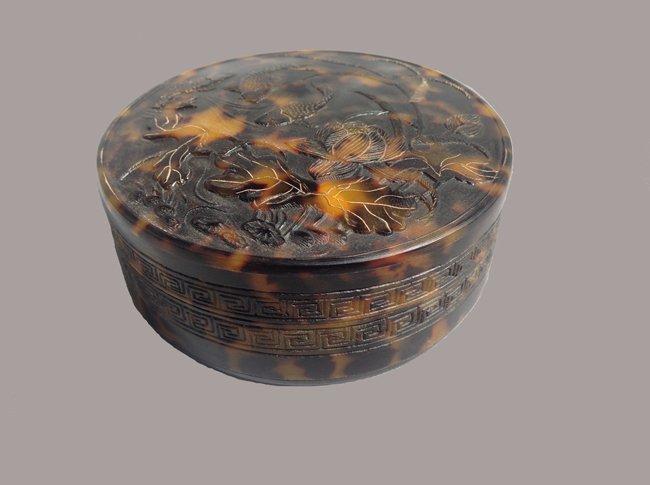 19th C Chinese Tortoise Round Carved Box