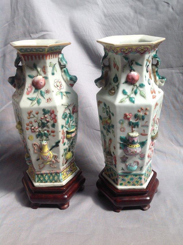 2 Famille Rose Rectangular Vase