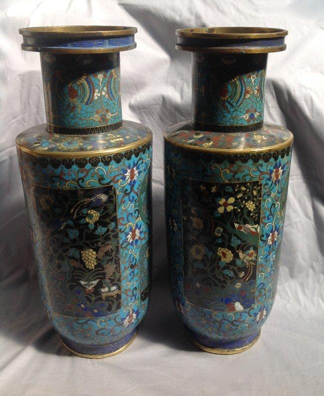 Pair of Cloisonne Enamel Rouleau Vase
