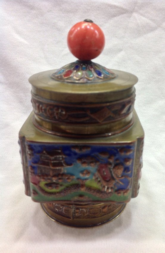 Antique Bronze Body and Enamel Inlaid Coral on Top