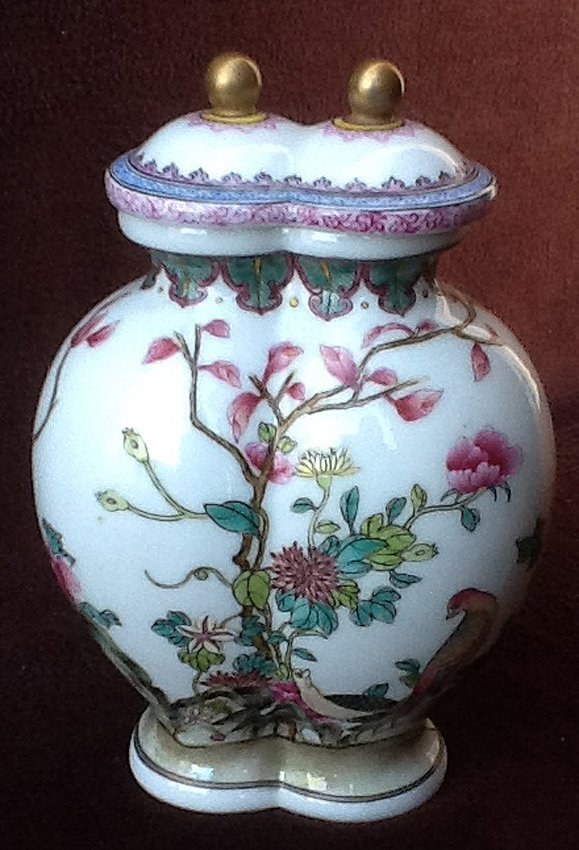 Famille Flowers & Birds Twin Covered Jar