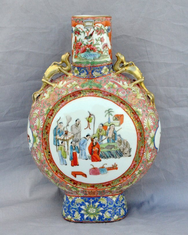 Rose Canton Moon Vase