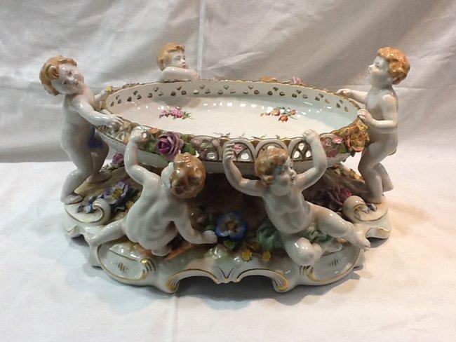 French Porcelain Plate w/ 5 Angel Boys