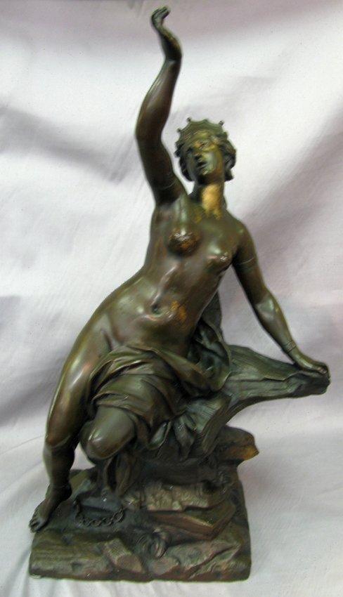 19th C. Bronze Lady Sit On Rock