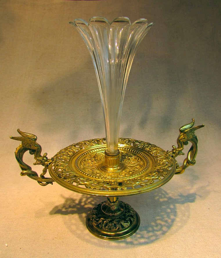 A 19th C. French Etagere Style Bronze Base Glass Jar