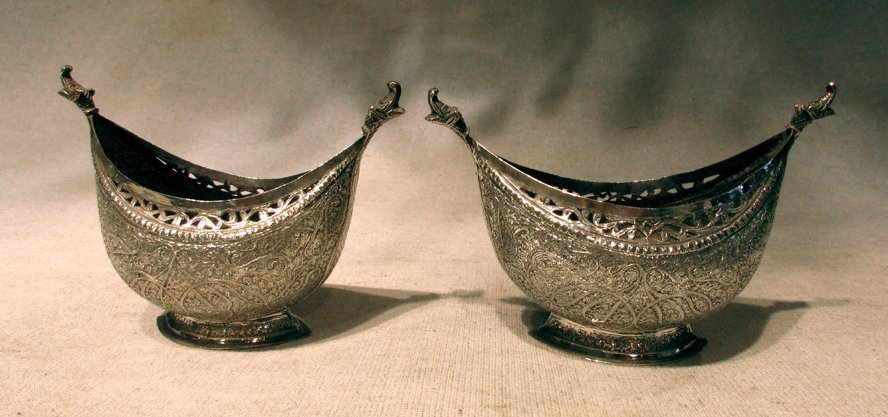 A Pair of Persian Fine Carved Silver Dishes