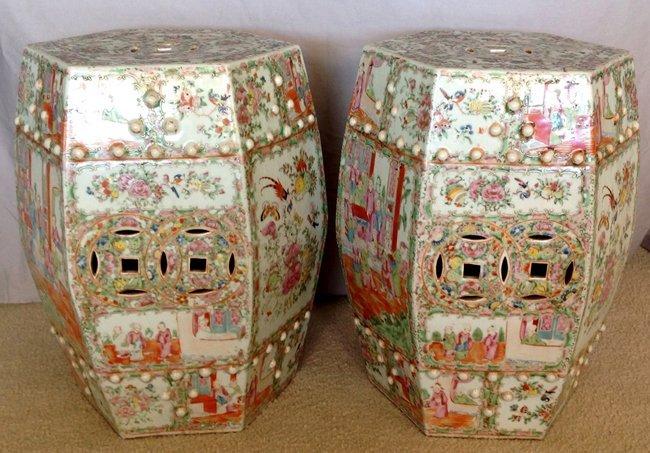 A Pair of Rose Canton Hexagonal Garden Seats