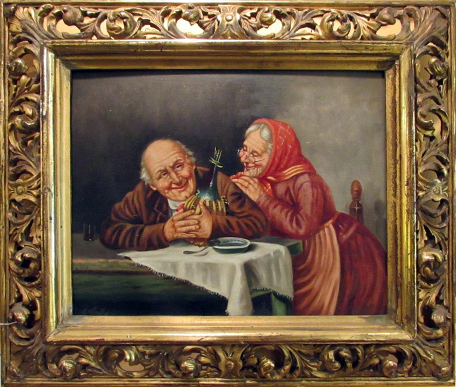19th C. Oil Painting of Grand Pa and Grand Ma