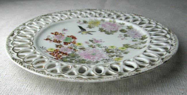 Porcelain Hand Painted Filigree Edge Plate