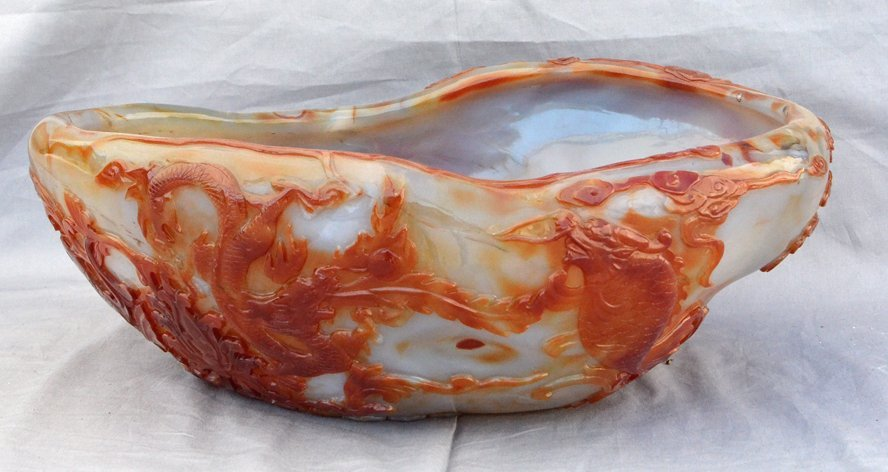 Large Rare Agate Water Brush Pot