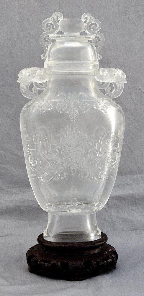 Crystal Ovoid Carved Jar On Wood Base