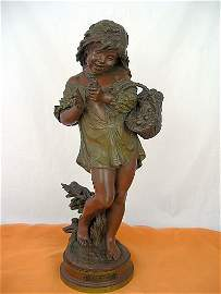 Auguste Moreau, bronze statue of curly haired girl