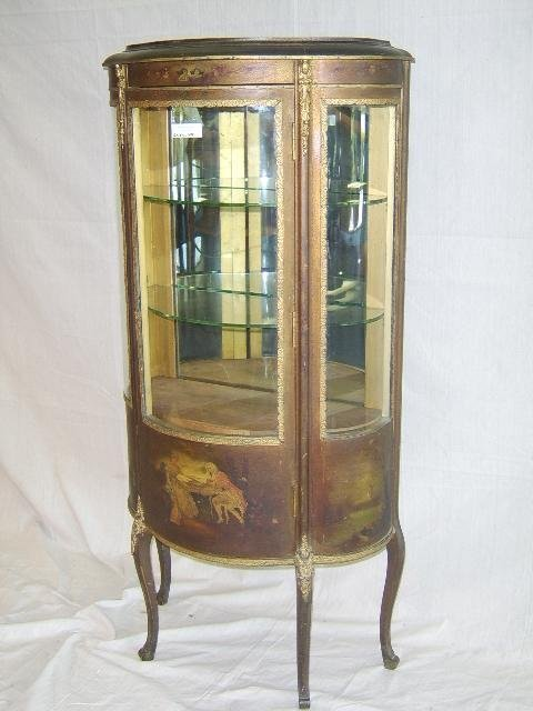 21: VERNIS MARTIN STYLE CURVED GLASS CHINA CABINET