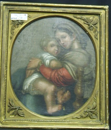 23: PAINTING-O/C MADONNA WITH A CHILD 19TH CENTURY