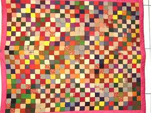 QUILT-AFRICAN AMERICAN STACKED BLOCKS 1930'S