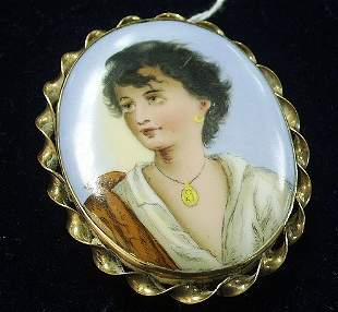 VICTORIAN BROOCH-HAND PAINTED PORTRAIT ON IVORY
