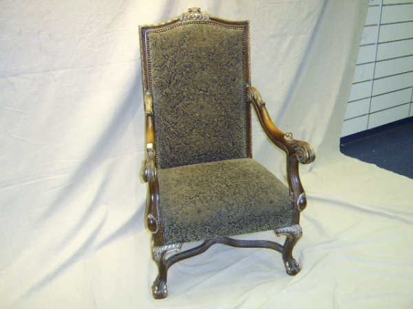329: FRENCH STYLE FIRE SIDE ARM CHAIR