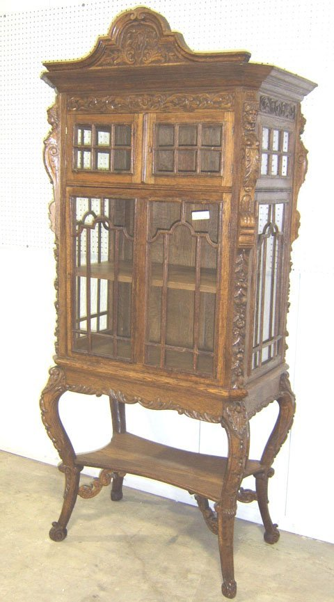 341: FIGURAL CARVED OAK JEWELERS DISPLAY CABINET