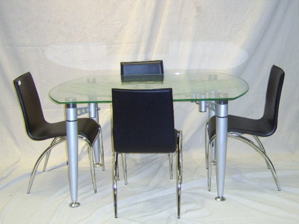 603: MODERN GLASS TOP TABLE W/ 4 CHAIRS