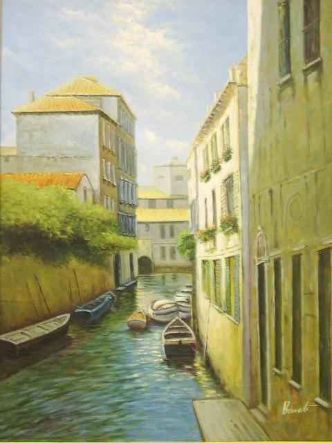 616: OIL ON CANVAS PAINTING 30 X 40 VENICE CANAL