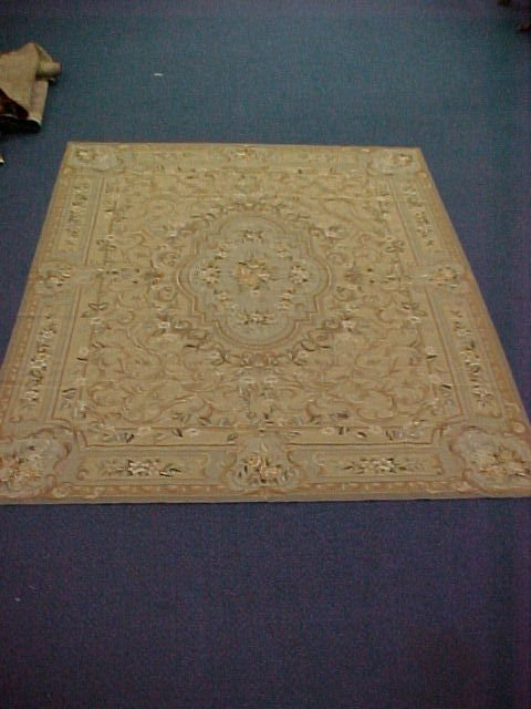 596: 8 X 10 NEEDLEPOINT HANDTIED EXCELLENT CONDITION