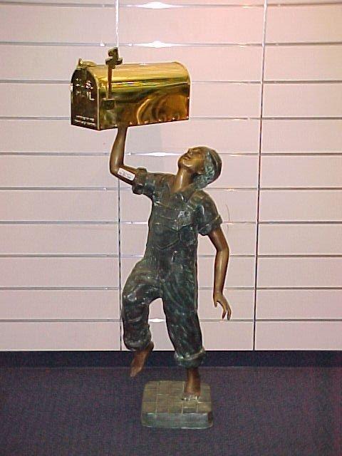 1002: FINE MULTI PATINA BRONZE FIGURAL BOY HOLDING BRAS