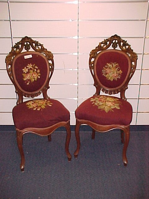 1008: PAIR OF PIERCED CARVED VICTORIAN NEEDLE POINT CHA