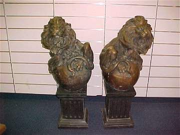 1132: INCREDIBLE PAIR OF INTRICATELY CHASED BRONZE LION