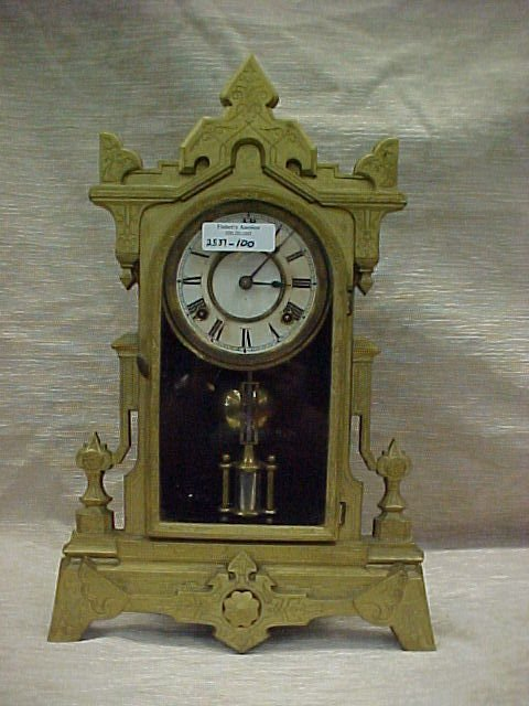 1006: VICTORIAN CAST IRON EASTLAKE STYLE MANTEL CLOCK 2