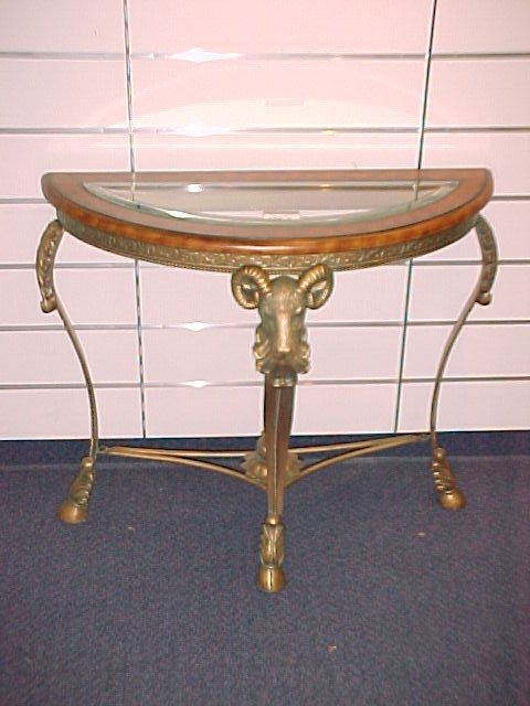 1013: OUTSTANDING HALF MOON CONSOLE W/BEVELED INSERTED