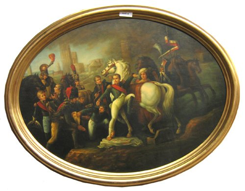 """1021: OIL ON CANVAS OF NEAPOLLIAN & TROOPS 38 1/2""""X49 1"""