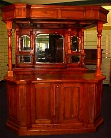1030: FINE ENGLISH PINE FULL BAR W/ BEVELED MIRRORS 91""