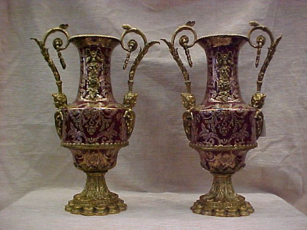 1133: FINE PAIR OF ADORE BRONZE MOUNTED HANDLED VASES L