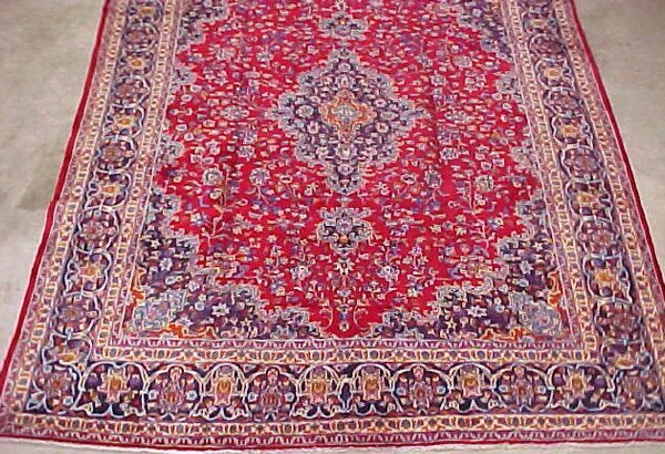 9: 9'10 x 12'6 Antique Persian Kashan Red and