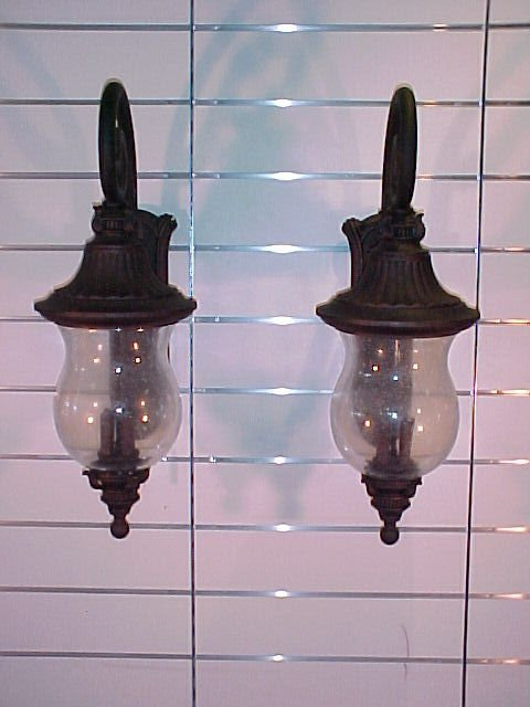 """1201: PAIR OF OUTSIDE CARAGE LAMPS (NEW) 35""""T 12""""W 17""""D"""