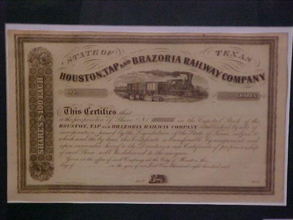 1202: TEXAS 1850'S HOUSTON TEXAS RAIL ROAD STOCK