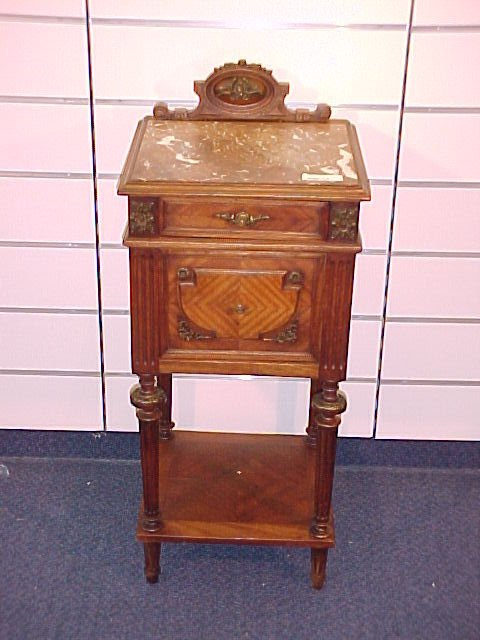 1206: FRENCH MARBLE TOP COMMODE