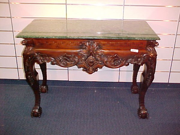 1210: CARVED EAGLE MARBLE TOP CONSOLE