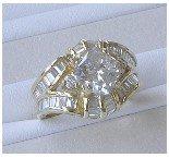 1221: 14K GOLD RING 2.44 CT DIAMOND PRINCESS CUT