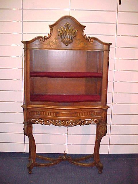 "1222: Open Front Serpentine Bookcase 1920's 76""T 42""W 1"