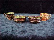 4 piece Victorian Northwood Carnival Glass