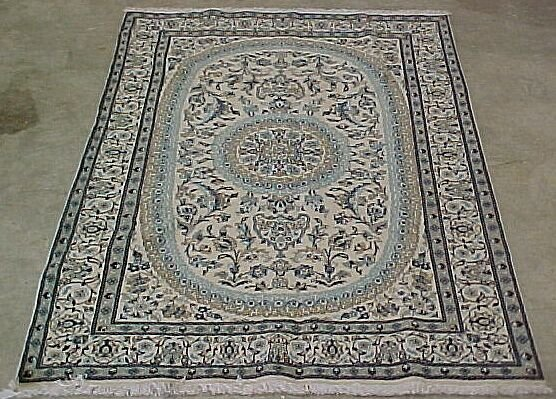 510: 6'3 x 9'6 Persian Nain Cream, Blue Condi