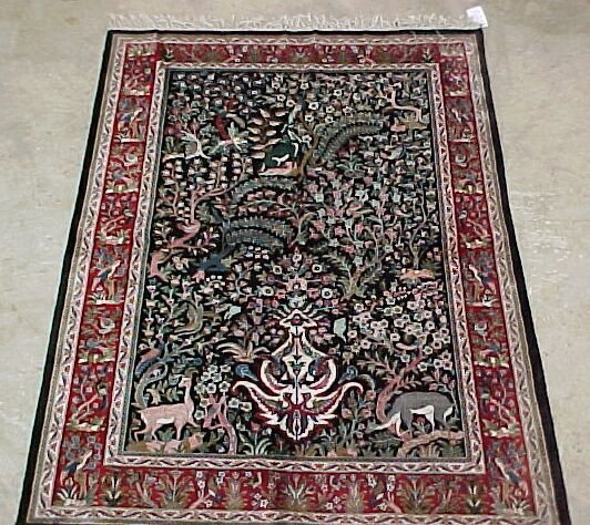 516: 4'6 x 6'6 Art Silk Tabriz Forest Scene,